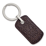 Chisel Brown Woven & Stitched Leather Key Ring Stainless Steel Brushed SRK163