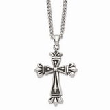 Chisel Antiqued Cross 24 Inch Necklace Stainless Steel Polished SRN1035-24