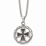 Chisel Antiqued Cross in Circle 22 Inch Necklace Stainless Steel Polished SRN1037-22