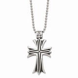 Chisel Antiqued Cross 24 Inch Necklace Stainless Steel Polished SRN1044-24