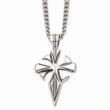 Chisel Antiqued Dagger Cross 22 Inch Necklace Stainless Steel Polished SRN1045-22