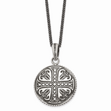 Chisel Antiqued Cross Circle 22 Inch Necklace Stainless Steel Polished SRN1057-22