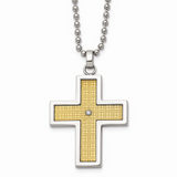 Chisel 14k Gold Gold-plated Diamond Accent Cross Necklace Stainless Steel SRN115-22
