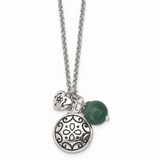 Chisel 2 Inch Extension Synthetic Jade Necklace Stainless Steel Antiqued SRN1310-20