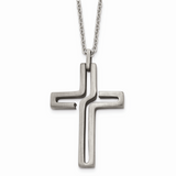 Chisel Antiqued Cross Necklace Stainless Steel Brushed SRN1321-20