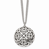 Chisel Antiqued Circle Necklace Stainless Steel Polished SRN1336-18