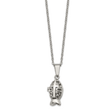 Chisel Antiqued Magnetic Fish Necklace Stainless Steel Polished SRN1386-18