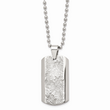 Chisel Textured Necklace Stainless Steel Polished SRN1442-24
