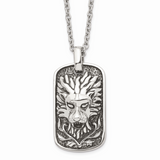 Chisel Antiqued Lion Dog Tag Necklace Stainless Steel Polished SRN1477-22