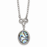 Chisel Antiqued Imitation Abalone/CZ Stone Stone 1.5 Inch Extension Necklac Stainless Steel Polished SRN1500-18.5