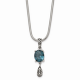 Chisel Antiqued Blue Glass 2 in Extension Necklace Stainless Steel Polished SRN1508-18.5