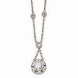 Chisel Antiqued CZ Stone Stone 2 Inch Extension Necklace Stainless Steel Polished SRN1509-18.5