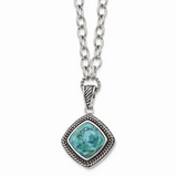 Chisel Antiqued Imitation Turquoise 20.5 Inch Necklace Stainless Steel Polished SRN1526-18