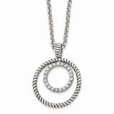 Chisel Antiqued CZ Stone Stone Circle Necklace Stainless Steel Polished SRN1529-18