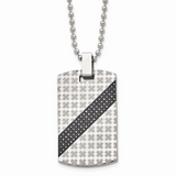 Chisel 1/2ct tw. Diamond Dog Tag Necklace Stainless Steel Polished SRN1647-24