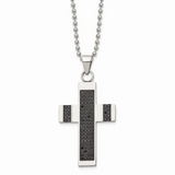 Chisel 1/2ct tw. Diamond Cross Necklace Stainless Steel Polished SRN1649-24