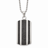 Chisel 1ct. tw. Diamond Dog Tag Necklace Stainless Steel Polished SRN1650-24