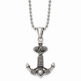 Chisel Antiqued Anchor Necklace Stainless Steel Polished SRN1659-24