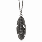 Chisel Antiqued Feather Black CZ Stone Stone Necklace Stainless Steel Polished SRN1704-20