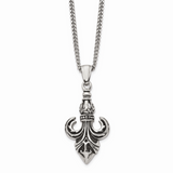 Chisel Antiqued Fleur de Lis Necklace Stainless Steel Polished SRN1718-22