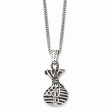 Chisel Antiqued Money Bag Necklace Stainless Steel Polished SRN1719-22
