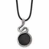 Chisel Antiqued Enameled Snake Necklace Stainless Steel Polished SRN1722-20