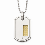 Chisel 18k Gold Plating with .01ct. Diamond 24 Inch Necklace Stainless Steel SRN178-24