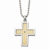 Chisel 18k Polished Textured Diamond Cross Necklace Stainless Steel SRN2131-24