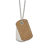 Chisel Tan Leather 22 Inch Dog Tag Necklace Stainless Steel Brushed and Polished SRN2314-22