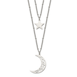 Chisel 2 Strand Beaded Star and Moon 30 Inch ch Necklace Stainless Steel Polished SRN2490-30