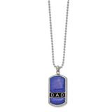 Chisel Enameled Lapis DAD Dog Tag 22 Inch Necklace Stainless Steel Polished SRN2624-22