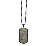 Chisel Black IP Sedimentary Rock Dog Tag 24 Inch Necklace Stainless Steel Polished SRN2638-24