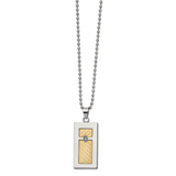 Chisel 18k gold accent .025ct Diamond Rectangular Necklace Stainless Steel SRN2713-24
