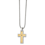Chisel 18k gold accent .02ct Black Diamond Cross Necklace Stainless Steel SRN2714-24