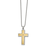 Chisel 18k gold accent .02ct Diamond Cross Necklace Stainless Steel SRN2715-24