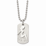 Chisel Girl Dog Tag 22 Inch Necklace Stainless Steel SRN321-22