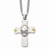 Chisel Yellow IP-plated Skull on Cross 24 Inch Necklace Stainless Steel SRN363-24
