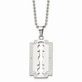 Chisel 1/20ct. Diamond Razor Blade 24 Inch Necklace Stainless Steel SRN365-24