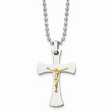 Chisel 14k Gold Gold Accent Crucifix Pendant Necklace Stainless Steel SRN487-22