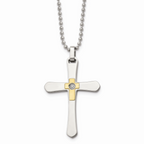 Chisel 14k Gold Accent Diamond Cross Necklace Stainless Steel SRN490-22