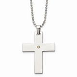 Chisel 14k Gold Accent 2 pt. Diamond Cross Necklace Stainless Steel SRN491-22