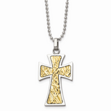 Chisel 14k Gold Accent Cross Pendant Necklace Stainless Steel SRN492-22