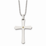 Chisel 14k Gold Accent 2pt Diamond Cross Necklace Stainless Steel SRN493-22