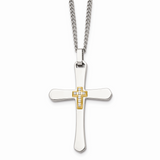 Chisel 14k Gold Accent Diamonds Cross Necklace Stainless Steel SRN913-22