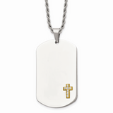 Chisel 14k Gold Diamonds Cross Dog Tag Necklace Stainless Steel SRN915-24
