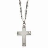 Chisel Cross 22 Inch Necklace Titanium TBN101-22