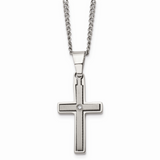 Chisel .03ct. Diamond Accent Cross 22 Inch Necklace Titanium TBN102-22
