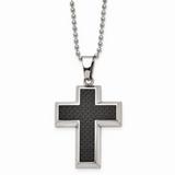 Chisel Polished Black Carbon Fiber Inlay Cross 22 Inch Necklace Titanium TBN113-22