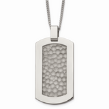 Chisel Hammered Pendant Necklace Titanium TBN125-22
