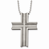 Chisel Polished Cross Necklace Titanium TBN154-24